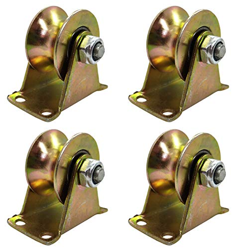 4 Pcs U Groove Track Wheel, 2Inch Sliding Door Roller with Bracket, for Heavy Duty Barn Door, Mechanical Carts