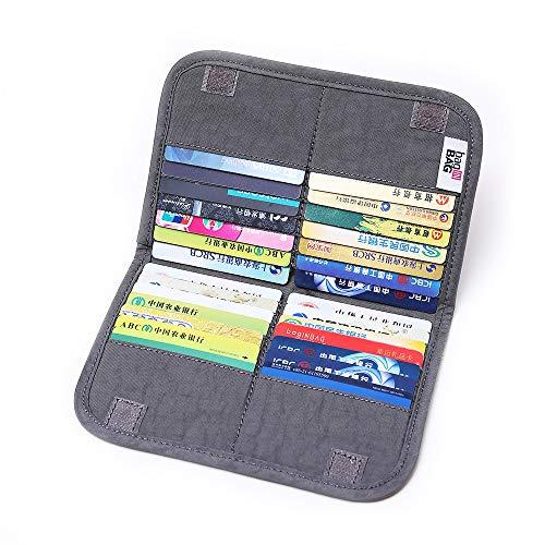 iN. Slim credit card holder wallet, Gift card display case, Minimalist light thin card storage case rfid blocking for men & women, with 28 slots in Grey
