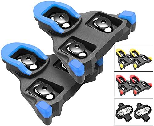 TacoBey - Tacchetti per bicicletta, compatibili con Shimano SPD SL SM-SH, per interni ed esterni, con clip per bici da strada (Blu -2° galleggiante)