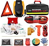 EVERLIT Roadside Assistance Kit, Car Emergency Kit Assistance Car Kit with Air Compressor,12FT Jumper Cable, Tow Strap, Hand Crank Flashlight, 108 Pieces First Aid Supplies (with Air Compressor)