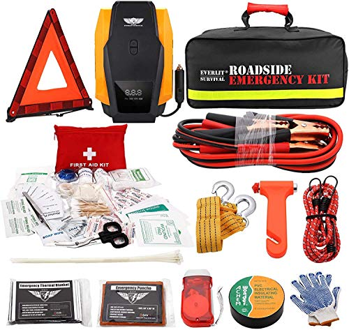 EVERLIT Roadside Assistance Kit, Car Emergency Kit Assistance Car Kit with Digital Air Compressor, 12FT Jumper Cable, Tow Strap, Flashlight, 108 Pieces First Aid Supplies (with Air Compressor)