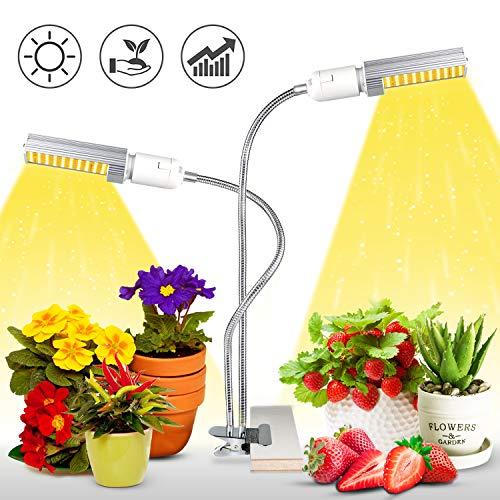 KINGBO 50W LED Pflanzenlampe Vollespektrum, 100 LEDs Grow Light White, Pflanzenlicht mit Dualem Austauschbarem E27 Glühbirnen und Flexiblem Schwanenhals für Pflanzen