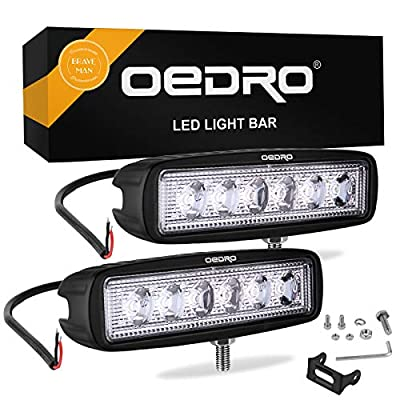 oEdRo LED Light Bar 2pcs 6 Inch 18W LED Work Light Off Road Lights Car Boat Lights Fog Driving Light Lamp Compatible for UTE SUV 4X4 4WD ATV Jeep 3 Years Warranty