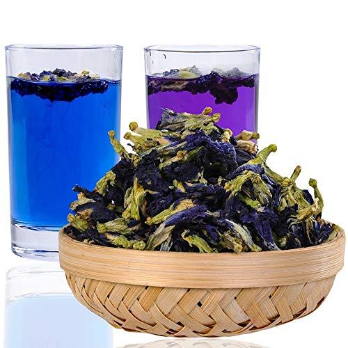 250 Grams (8.8 Oz) Naturally Produced Blue Butterfly Pea Flowers, Organic Dried Butterfly Pea Flower Clitoria Ternatea Herbs Herbal Healthy Tea Drink Recipes Food Coloring Antioxidants Aging Wrinkles