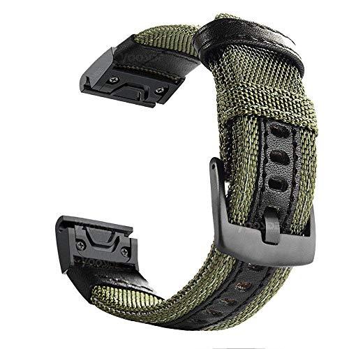 YOOSIDE Cinturino per Garmin Fenix 5X/Fenix 6X, 26mm NOTA Cinturino resistente in nylon resistente al sudore per Garmin Fenix 5X/5X Plus,Fenix 6X Pro/Sapphire,Fenix 3/3 HR, Enduro (verde)