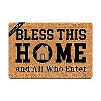玄関マット Bless This Home and All Who Enter おもしろドアマット ドアマット 装飾室内ドアマット 不織布 23.6 x 15.7インチ 洗濯機洗い可能 ファブリックトップ