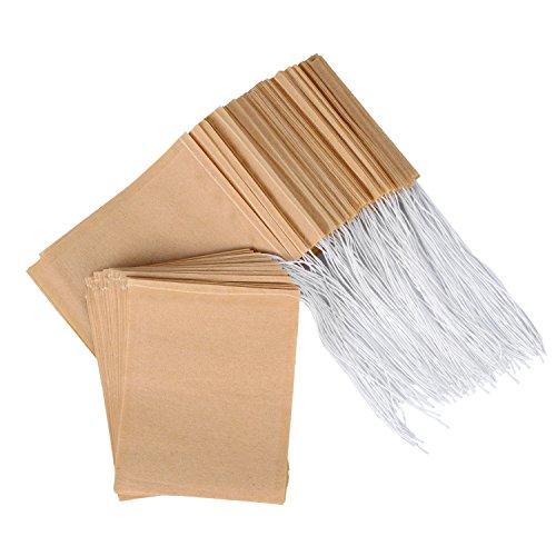 Einweg-Teebeutel aus natürlichem, ungebleichtem Papier mit Kordelzug für losen Tee, 200 Stück