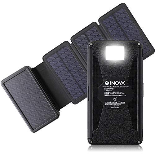 INOVA(イノバ) ソーラー充電器 20000mAh モバイルバッテリー led ライト 携帯 アウトドア 防災 3R SYSTEMS ブラック