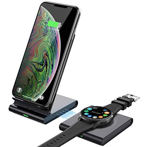 MoKo Qi Cargador Inalámbrico Rápido Wireless Charger, 2 en 1 10W Estación Base de Carga Rápida para S20/S10/Note 20/Galaxy Watch 3 41mm/45mm/42mm/46mm/Active 2/1/S3/Buds, iPhone 12/11/XR/AirPods Pro/2