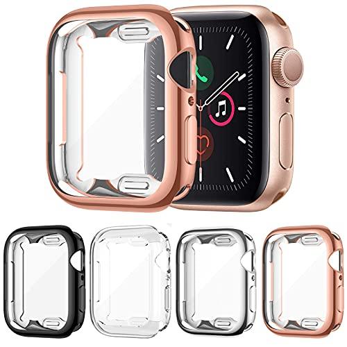 FITA [4 Stücke] Schutz Hülle Kompatibel mit Apple Watch Series 6/5/4/SE 40mm Schutzhülle, Flexible Weiche TPU Schutz Bildschirmschutz Schutzfolie Folie Kompatibel mit iWatch 6 / 5 / 4 / SE (40mm)
