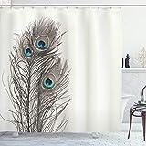 ABAKUHAUS Pfau Duschvorhang, Federn des exotischen Vogels, mit 12 Ringe Set Wasserdicht Stielvoll Modern Farbfest & Schimmel Resistent, 175x200 cm, Weiß Taupe & Blau