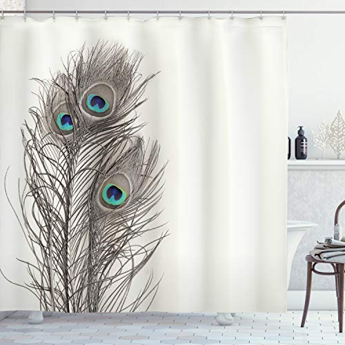 """Ambesonne Peacock Shower Curtain, Feathers of Exotic Bird on White Backdrop Bohemian Wildlife Composition, Cloth Fabric Bathroom Decor Set with Hooks, 70"""" Long, White Taupe and Blue"""