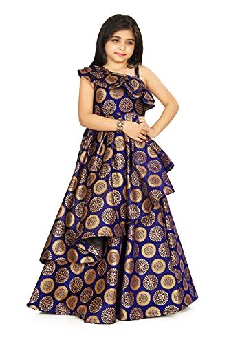 FELIZ THE DESIGNER STUDIO Kids Girl's Sleeveless Full Length Cotton Silk Gown Dresses (_15-16 Years_) Blue