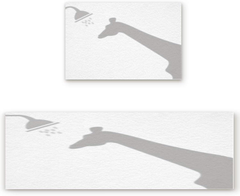 2 Piece Non-Slip Kitchen Bathroom Entrance Mat Absorbent Durable Floor Doormat Runner Rug Set - Funny Giraffe Shadow
