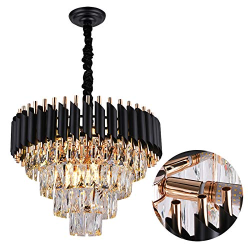 A AXILIXI Crystal Chandeliers 4-Tier, 9-Lights H15' X W20' Modern Dinning Room Chandelier, Adjustable Chain Ceiling Light Fixture, K9 Pendant Lamp for Living Room, Black and S Gold