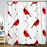 Fed Cardinal and Branches -Abstract Polyester Fabric Shower Curtain