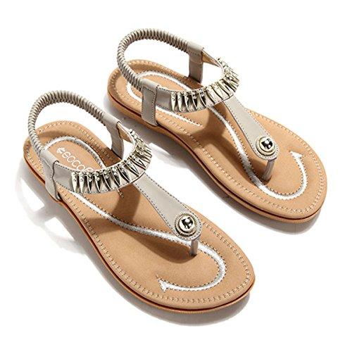 gracosy Sandalias para Mujer Planas Verano Zapatos de Dedo Sandalias Talla Grande Cinta Elástica Casuales de Playa Chanclas de Mujer Estilo Bohemia 2019 Negro Verde Rojo Azul