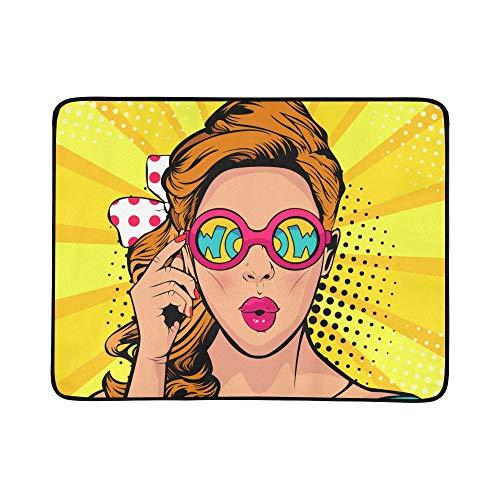 Kühles Hip Hop-Mädchen-gestreiftes T-Shirt Hut-Sonnenbrille-Muster tragbare und Faltbare Deckenmatte 60x78 Zoll-handliche Matte für kampierende Picknick-Strand-im