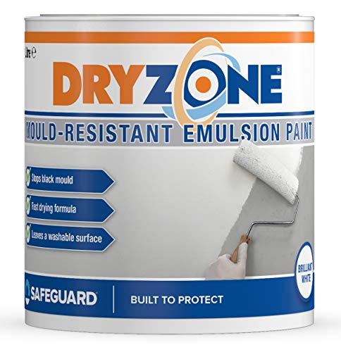 Dryzone Anti Mould Paint 1L Brilliant White – Mould Resistant for 5 Years, 10m² - 12m² Coverage