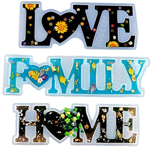 Silicone Word Sign Resin Molds 3pcs, Love/Home/Family Sign Resin Casting Molds, Silicone Epoxy Resin Moulds for DIY Table Home Decoration Art Craft