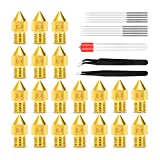 0.4MM MK8 Nozzles, Bibonse 20PCS 3D Printer Extruders Brass Nozzles with 10 Stainless Steel Cleanning Needles for Ender 2/3/5 Makerbot Creality CR-10 Anet A6 A8