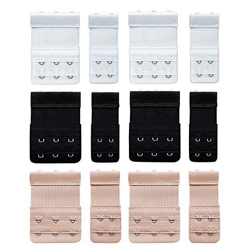 Wskderliner BH Verlängerung Bra Extender Erweiterung Strap Elastisch Band Weich Gurt 3 Haken und 2 Haken Packung mit 12(Schwarz,Weiß,Hautfarbe)