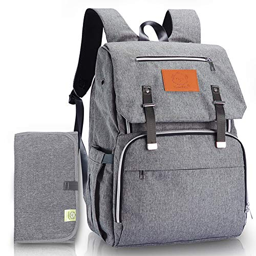 Diaper Bag Backpack for Mom and Dad Diaper Changing Mat Included (Classic Gray)