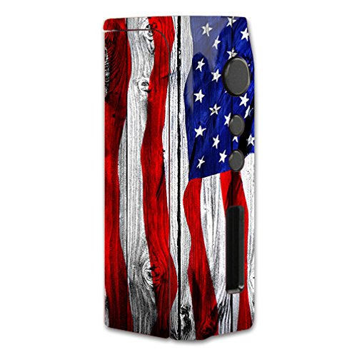 Skin Decal Vinyl Wrap for Pioneer4you iPV D2 75w Vape Mod Box / American Flag on Wood