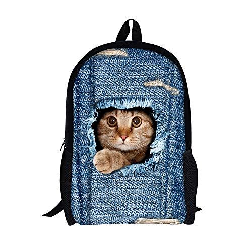 Moolecole Unisex 3D nette Katze Muster Daypack Rucksack Jungen-Mädchen-beiläufige Schule-Beutel-Rucksack-Karikatur-Muster-Schulter-Beutel Ideal für Schule und Reisen (Cat2 Large)