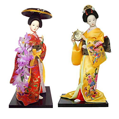 Siunwdiy 12inch Japanese Kimono Doll,Japanese Traditional Doll,Geisha Figurine with Fan Ornaments Gift Art Craft Collectables,#014,2pcs