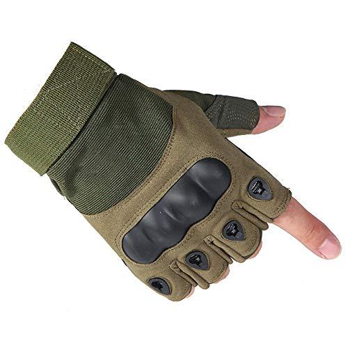 guanti tattici militari Selighting Guanti Moto Mezze Dita Guanti Tattici Nocche in Gomma Dura Militare-Guanti da Equitazione per Ciclismo Caccia Softair Arrampicata (L