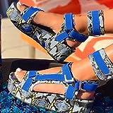 DZQQ Sandalias de Mujer Sandalias de Plataforma para Mujer Punta Abierta Ankel Correa Pisos de Piel de Serpiente Zapatos de Playa Sandalias personales de Moda