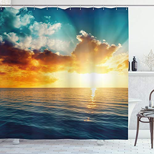 """Ambesonne Ocean Shower Curtain, Majestic Sunset Over The Sea Scenic Idyllic Aquatic View Morning Picture, Cloth Fabric Bathroom Decor Set with Hooks, 70"""" Long, Turquoise Orange"""