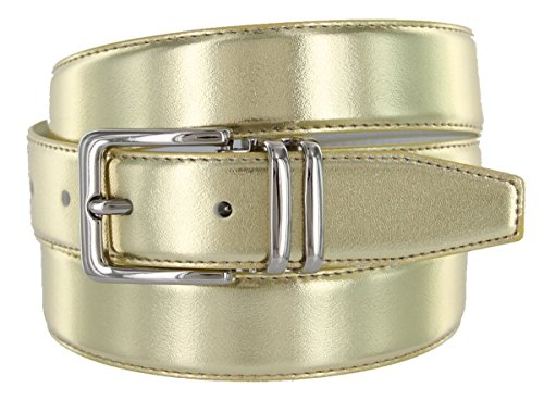 Leather Fashion Belt, Metallic Gold with bright Nickel Plated Buckle (44)