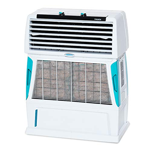 Symphony Touch 55 Room Air Cooler 55-litres with Double Blower, 4-Side Cooling Pads, Cool Flow Dispenser, Fully Closable louvers (White)