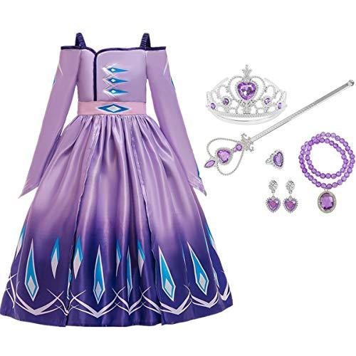 Fanessy Mädchen Prinzessin Kleid ELSA Prinzessin blau lila Langarm Kapuze Umhang Kostüm verkleiden Sich für Kinder Halloween Weihnachtsfeier Maskerade Cosplay Kostüm Zubehör Krone Zauberstab