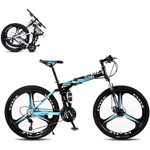 J.W. 26 Zoll Faltbares Mountainbike, 8 Sekunden Schnelle Falten MTB Fahrrad 21 Geschwindigkeit Stahlrahmen Dual-Scheibenbremse Rennrad Für Off-Road-Radfahren,Blau