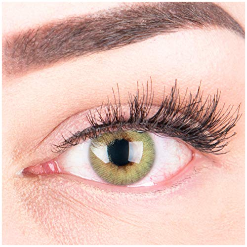 GLAMLENS lentillas de colores verdes Rose Green + contenedor. 1 par (2 piezas) - 90 Días - Sin Graduación - 0.00 dioptrías - blandos - Lentes de contacto verde de hidrogel de silicona