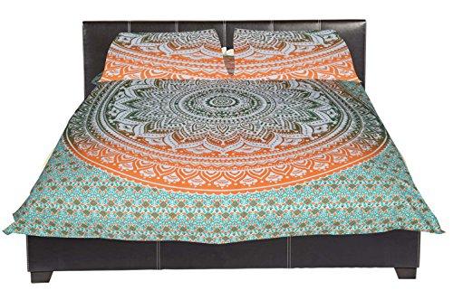 Export Ombre Mandala indien fait main Tapisserie hippie bohème en coton Couverture de lit Queen Couvre-lit avec 2 taies d'oreiller (imprimé mandala noir fleur)