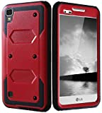 Compatible with LG Tribute HD Case, X Style Case, Full Body Protection Rugged Tough [Dual Layer] Armor Overlay Case [Shockproof] Protective Hybrid Case for LG X Style / Volt 3 / LS 676 (Red)
