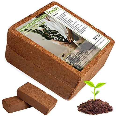 ZeeDix 4 Pcs Premium Coco Coir Brick- 100% Organic Compressed Coconut Coir Starting Mix, Coco Coir Fiber for Potting Soil, Herbs, Gardening