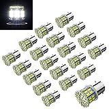 Efoxcity 12V 1156 20 Pcs Bright 1156 1141 1003 50-SMD White LED Bulbs for Car Rear Turn Signal Lights Interior RV Camper