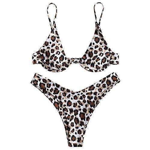 ZAFUL Damen Zweiteiliger Bügel Bikini-Set, Leopardenmuster Criss Cross Push Up High-Cut Gepolsterte Bikini Badeanzug (Leopardenmuster-Khaki, S)
