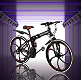 ACESPEE 26 Inch Full Suspension Mountain Bike for Mens,Adult Folding Bikes Commuter MTB with 21-Speed Dual Disc Brakes,Portable Mountain Bicycle Non-Slip City Cycling for Men/Women (Red&Black)