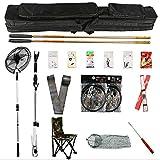 Juego de herramientas de pesca para principiantes, pintura de piano de carbono de nivel de entrada de 4.5 y 5.4 metros con bolsa de silla, línea de cebo, red de inmersión, equipo de pesca de 2 polos