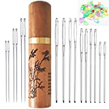 Large Eye Needles, 6 PCS Sewing Needles and 10PCS Yarn Needles, 20PCS Stitch Markers with Wooden Needle Case Carving Pattern