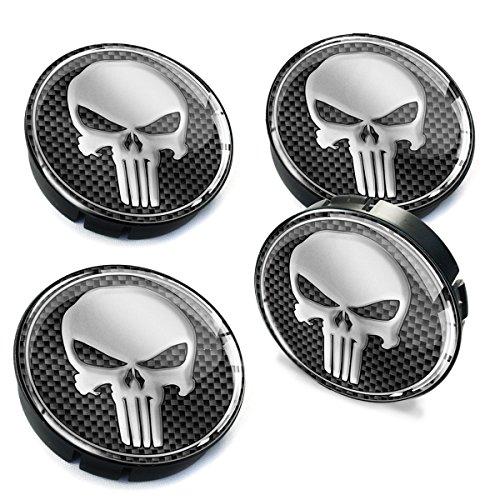 SkinoEu® 4 x 60mm Silikon Nabenkappen Kappen Punisher Silber Totenkopf Totenschädel Skull Felgendeckel Radkappen Radnabendeckel Nabendeckel Auto Tuning C 2