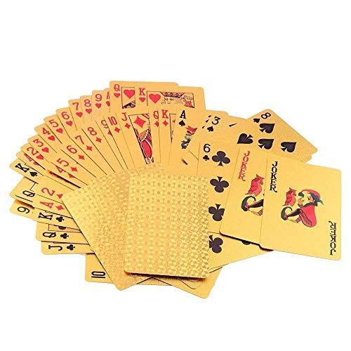 Alxcio Poker Spielkarten Blattgold Wasserdicht mit 24K Goldfolie Poker,Aufwendig Aussehen - Hoch Qualität für Ihr Poker Vergnügen, Profi Premium Spielkarten für Texas Holdem Poker