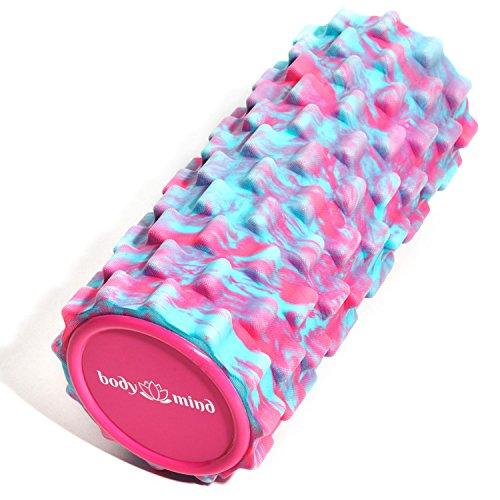 Body & Mind Faszienrolle Massage-Rolle Fitnessrolle Sportrolle Therapierolle für effektive Selbstmassage und Faszien-Training; 33 x 14,5 cm; Pink-Blau