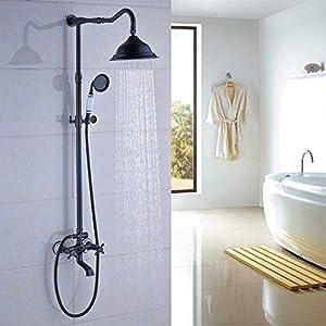 Rozin Oil Rubbed Bronze Bathroom Shower Faucet Set 8 Inch Shower Head + Hand Spray